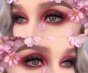eye lashes, lipstick, and eyebrows image
