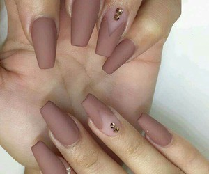 brown, pink, and nails image