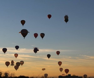 festival, hot air baloon, and sun image