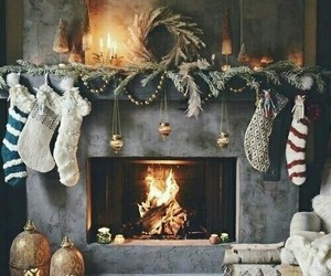 christmas, winter, and fire image