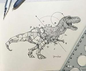 art, dinosaur, and drawing image