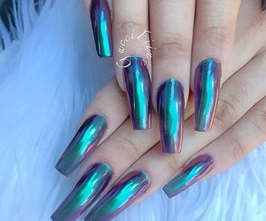 blue, holographic, and nails image