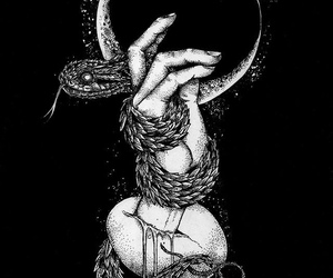 art, moon, and snake image