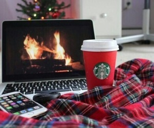 christmas, starbucks, and iphone image