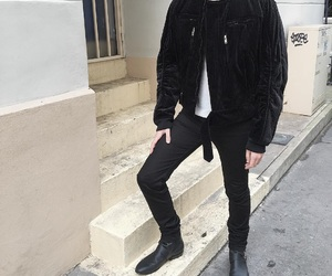 black, outfit, and bomber image