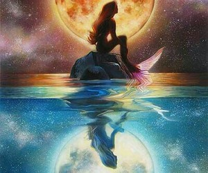 mermaid, disney, and moon image