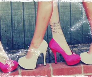 heels, tattoo, and pink image