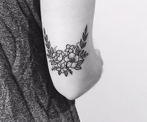 tattoo, flowers, and black and white image