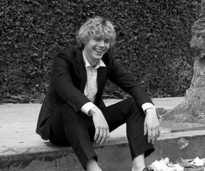 evan peters, ahs, and black and white image
