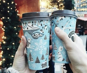 christmas, coffee, and snow image