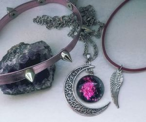 choker, crescent moon, and galaxy image