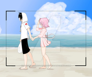 sasusaku, love beach, and sakura haruno image