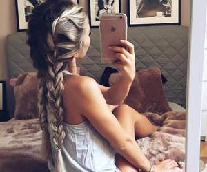 bedroom, braid, and girl image
