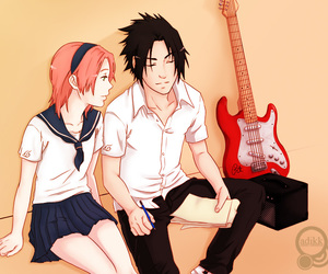 guitar, school, and music image
