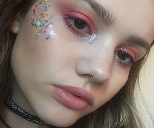 girl, glitter, and makeup image