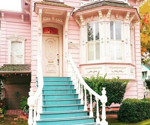 house, pink, and place image