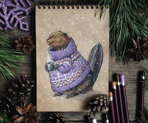 art, beaver, and sweater image