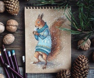 squirrel, art, and winter image
