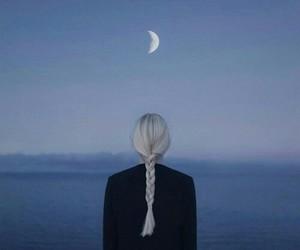 girl, moon, and hair image