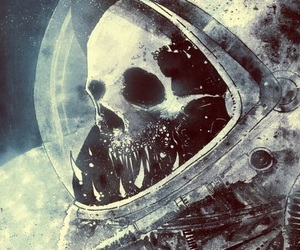 space, skull, and astronaut image
