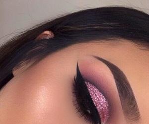 makeup, eyebrows, and pink image