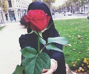 rose, hijab, and muslim image