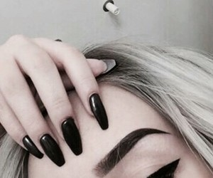 nails, black, and eyebrows image