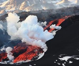 volcano, smoke, and lava image