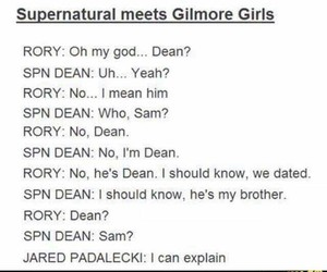 dean winchester, funny, and gilmore girls image