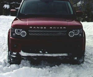 car, range rover, and snow image