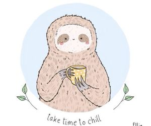 chill, sloth, and animal image