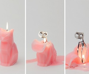 cat, candle, and pink image