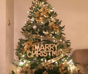 christmas tree, diy, and golden image