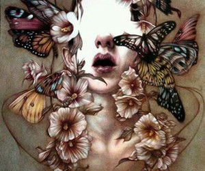 butterfly, art, and flowers image