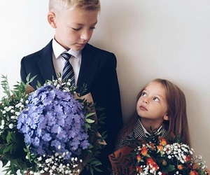 brothers, flowers, and kids image