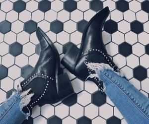 boots, jeans, and ripped jeans image