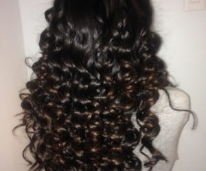 black hair, brown hair, and curly image