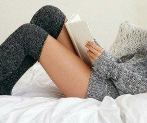 book, sweater, and socks image