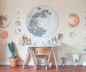 moon, art, and room image
