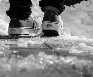vans, black and white, and snow image