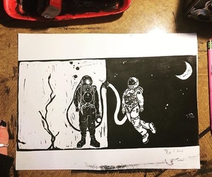 art, astronaut, and diver image