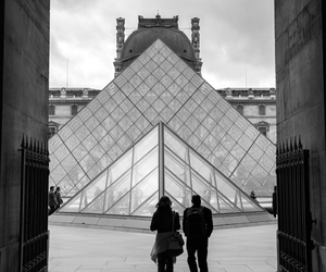 paris, black and white, and louvre image