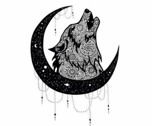 wolf, art, and black and white image