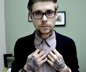tattoo, boy, and glasses image