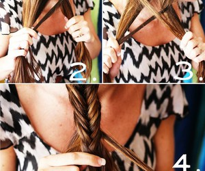 hair, braid, and fishtail image