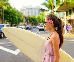 abroad, beach, and surfboard image