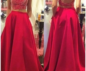 open back long prom dress, two piece red prom dress, and prom dress beaded image