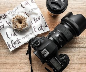 food, camera, and donut image