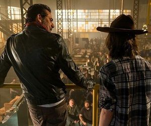 the walking dead, negan, and carl grimes image
