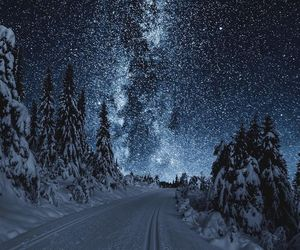 winter, stars, and snow image